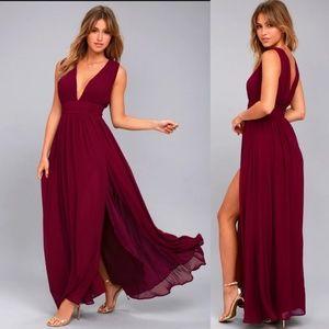 Lulu's Heavenly Hues Burgundy Maxi Dress  NWT